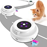 Interactive Cat Toy with Rotating Feather, 2 In1 Low Noise Electronic 3 Speed Model Automatic, Intelligent Loop Function(Continuous Plays/15 Minutes Auto Shut-off/light Display) for Indoor Cats Toy