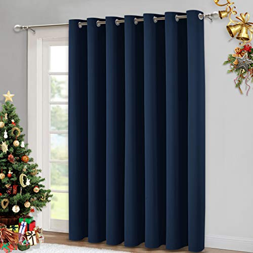 NICETOWN Blackout Wide Sliding Door Curtains - Insulated Noise Reduction Drapes, Privacy Vertical Blind for Living Room & Bedroom (Navy, W100 x L95 inches)