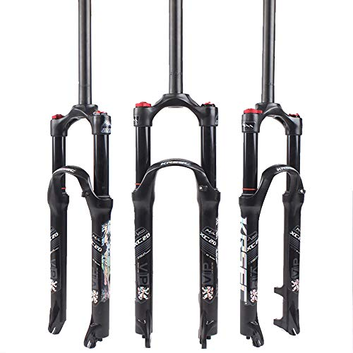 KRSEC 【UK STOCK】 26/27.5/29 Air Mountain Bike Suspension Fork, Straight Tube 28.6mm QR 9mm Travel 120mm Manual/Crown Lockout MTB Forks, Ultralight Gas Shock Absorber XC/AM/FR Bicycle Cycling Black
