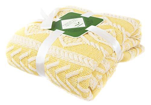 Manta de lana merina y cachemira cálida y suave para cama y sofá, 40 x 160 pulgadas, 90% lana merino y 10% cachemira aspecto (amarillo)