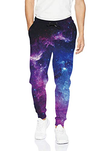 uideazone Galaxy Graphic Joggers Pants for Womens Mens Outer Space Sports Sweatpants Baggy Trouser with Drawsring Pockets