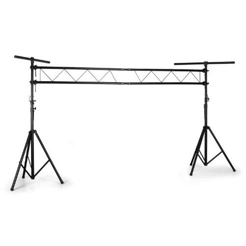 Lightcraft Light Stand - Traverse, Lichtständer, Lichtstativ, 100 kg Tragkraft, Traversenbrücke, 3m Spannweite, Dreibein-Stative, höhenverstellbar, 2xCrossbar, Stahlrohrkonstruktion, schwarz