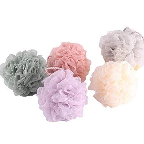 5pcs grandes boules de douche couleur unie maille éponge corps exfoliant gommage loofah pour hommes et femmes (gris, violet, vert foncé, kaki, beige)