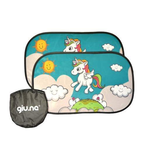 GIU.NE® Tendine Parasole auto per Bambini e Neonati - Accessori Oscuranti Per auto - Protezione ottimale raggi UV 80g/m²- 2 pezzi 51x31cm - Nere oscuranti con Unicorno