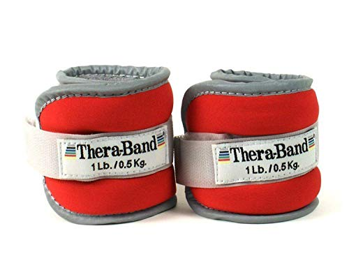 TheraBand Ankle Weights, Comfort Fit Wrist & Ankle Cuff Weight Set, Adjustable Walking Weights for Cardio, Home Workout, Ankle Strengthening & Physical Therapy, Red, 1 lb. Each, Set of 2, 2 Pounds