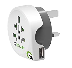 International travel adapter for UK, this handy all-in-1 world to UK adapter with USB charger is designed to allow plugs from all over the world to power your devices in type J socket outlets, commonly used in UK, Singapore, Hong Kong and other count...
