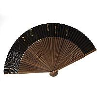 扇子 高級絵付扇子 香り付き 日本製 唐木中彫 大短地 パール地 トンボ