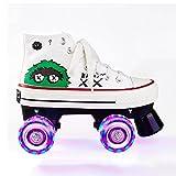 Patines para mujer, doble fila de lona para niñas, patines de lona de cuatro ruedas altas (color: negro, tamaño: EU 38/US 6/UK 5/JP 24 cm)