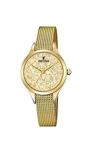 Festina Damen Analog Quarz Uhr mit Edelstahl Armband F20337/2