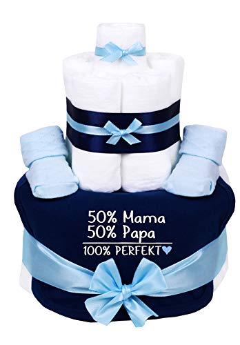 TrendMama Windeltorte blau-hellblau Junge-Babysocken + Babylätzchen handbedruckt -50% Mama, 50% Papa,100% Perfekt-