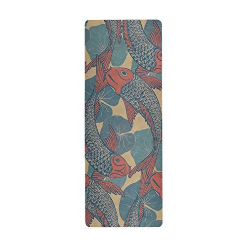 ALAZA Vintage Japanese Koi Fish Carp and Otus Leaves Yoga Mat Non Slip 1mm Thick Foldable Travel Exercise Mat for Men Women Girls 71x26 Inches