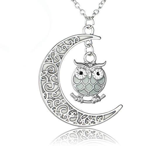 Lunapolaris - Schmuck Halskette - mit Romantischer Luna Methusa Eule +Leuchtenden+ Luna Mond ┃ Zauberhafter Glücks - Traum – Anhänger Glücksgrün (Glücksgrün)