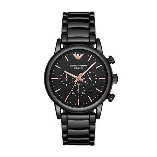 Emporio Armani Reloj Analógico para Hombre de Cuarzo con Correa en Cerámica 4053858759534, Rosa/Negro