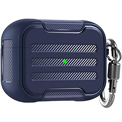 AHASTYLE AirPod Pro Case Cover Rugged Hard-shell Protective Case Cover Accessories Shockproof Compatible with Apple AirPods Pro Charging Case (Deep Blue) by Ahastyle