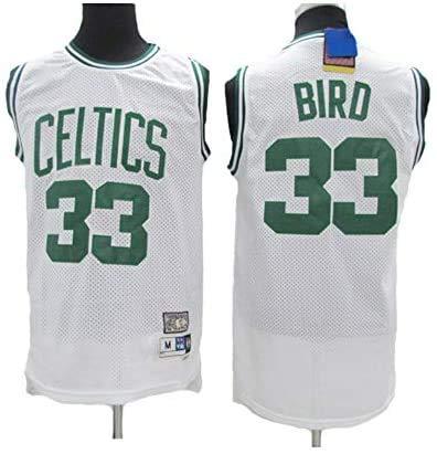 JAG Camiseta de Baloncesto Larry Bird # 33 - NBA Boston Celtics, Tela Transpirable Fresca Nueva Camiseta Deportiva Retro Bordada All-Star Jersey, Blanco, L: 180 cm / 75~85 kg