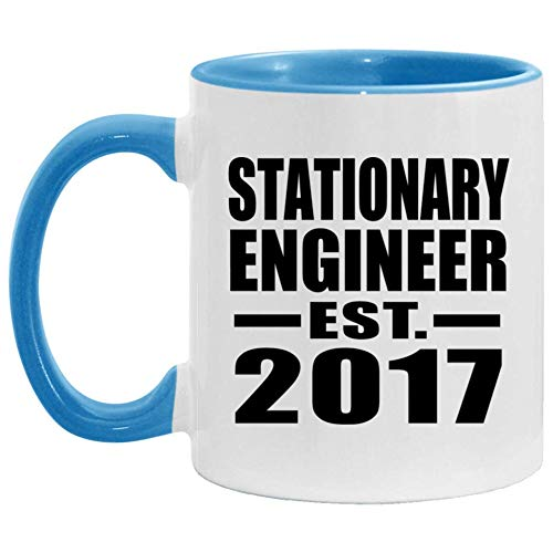 Stationary Engineer Established EST 2017-11oz Accent Coffee Mug Blue Ceramic Tea-Cup - For Friend Retirement Graduation Boss Birthday Anniversary Mothers Fathers Day 90SM1L