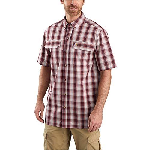 Carhartt Men's Rugged Flex Rigby Short Sleeve Work Shirt, Dark Barn Red, Large