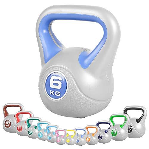 GORILLA SPORTS® Kettlebell Stylish 2-20 kg Kunststoff – Fitness-Kugelhantel 6 kg