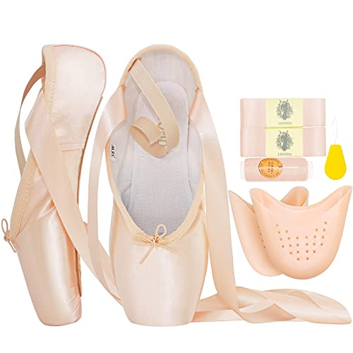 IJONDA Adult Pointe Shoes Pink Ballet Shoes for Girls and Women with Ribbons and 2 Pairs of Toe Pads (Pink, Numeric_8)