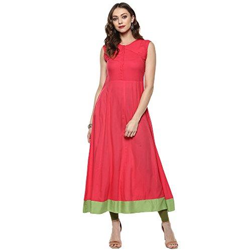 Indian Virasat Women's Cotton Kurta (Ivk407-2Xl _Peach_Med