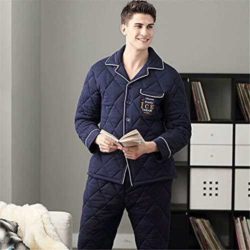 Schlafanzug Herren Lang 100% Baumwolle Pyjama Herren 2 Stück Weiche Bequeme...