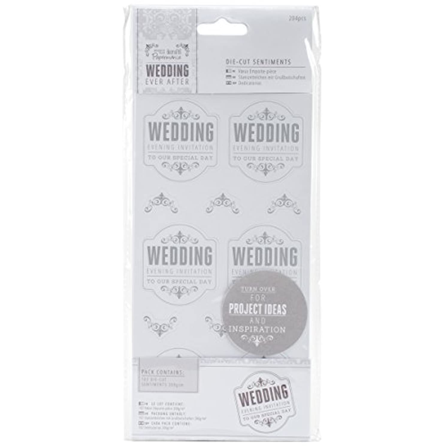 DOCrafts PMA158201 Papermania Ever After Wedding Die Cut Sentiments with 204 Evening Invitation, 4