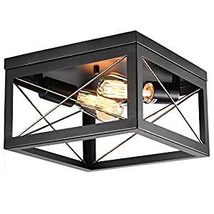 Rustic Farmhouse Flush Mount Light Fixture, 2 Lights Black & Gold Ceiling Light Fixtures, Modern Lamp Shade for Kitchen Dining Living Room Bedroom Hallway Entryway Foyer Porch