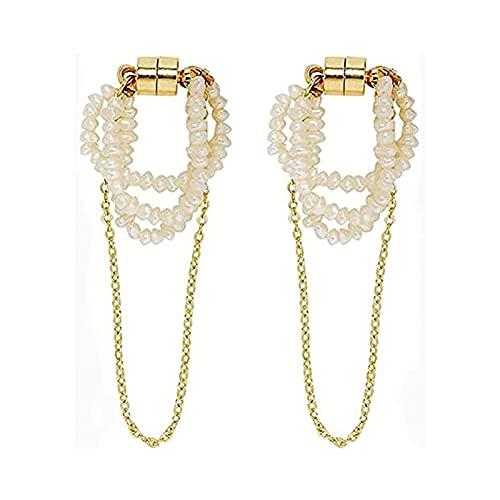 No Pierced Magnetic Ear Bone Clip Set,Natural Freshwater Small Pearl Ear Bone Clip,Long Chain Magnet Ear Bone Clip for Women. (Little pearl)