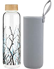 FCSDETAIL Sport borosilicaatdrinkfles glas waterfles met neopreen hoes en lekvrij deksel 420 ml / 660 ml / 1000 ml
