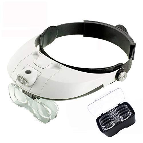 Lupa para Gafas con Diadema Zoom de -1X a 3.5X con 5 Lentes Desmontables-Gafas de Aumento de Cabeza montadas en la Cabeza con luz para Lectura, Reloj, reparación electrónica