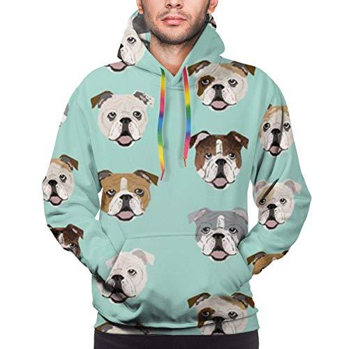 Funny Z Englische Bulldogge Herren Hoodie Langarm Sweatshirt Kapuze Casual Pullover Hoodie mit großen Taschen, Größe XL