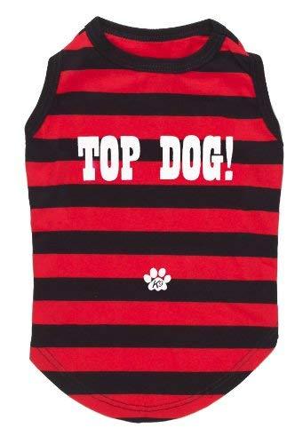 'K9 Top Dog gestreept T-shirt voor honden met tekst Top Dog in blik, X-Small, zwart/rood