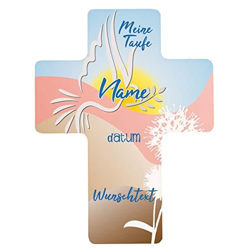 Striefchen® Taufkreuz mit dem Namen des Kindes und dem Taufdatum Bedruckt - Motiv Taube