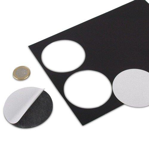 6 Stück Magnetplättchen selbstklebend, rund Ø 60 mm, Takkis Magnet-Plättchen runde Magnetfolien Zuschnitte Magnetscheiben