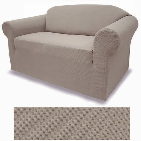 2 Piece Set 4-Way Stretch Spandex Jersey Taupe Brown Slipcover Set - Sofa Cover and Loveseat Cover Included