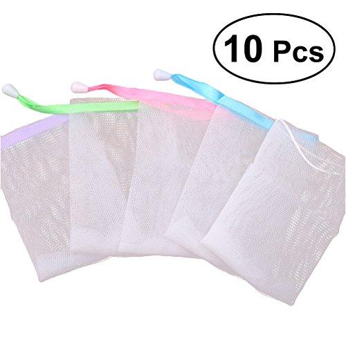 Frcolor 10 Piezas Exfoliante Malla Bolsa de jabón, hecho a mano jabón malla bolsa burbuja espuma Net Body Facial Cleaning Tool (color al azar)