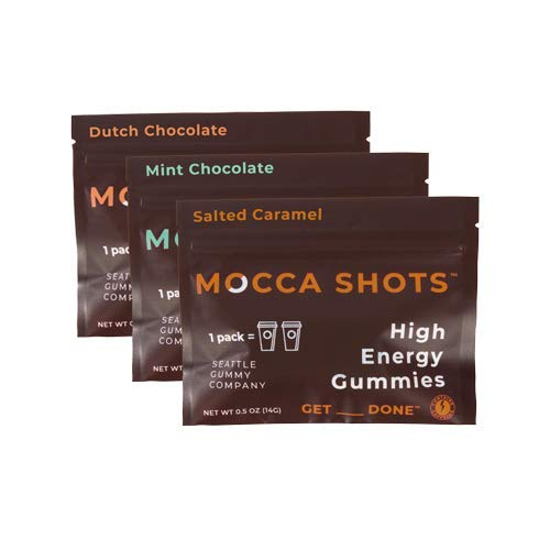 Mocca Shots Chocolate Caffeine Gummies Variety Pack (3 packs, 3x2 shots, 200mg caffeine/serving); Vegan, Gluten Free, All Natural, Made in USA; Energy chew, Vitamin Bs, Gingko (Seattle Gummy Company)