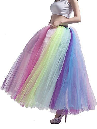 Women's Elastic Waist Ballet Layered Floor Length Tutu Tulle Prom Party Skirt Rainbow