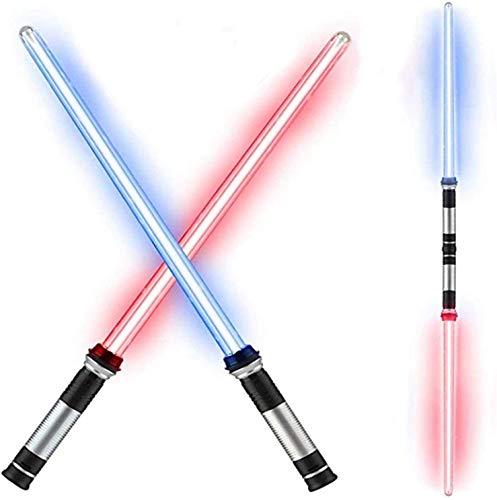 La Espada de Sabre, 2-en-1 LED Glow Sticks, 2 Pack Telescopic Light Sabres, con el Sonido de Batalla y el Cambio de 7 Colores, el Regalo de Juguete de la Sable de luz Plegable para los Adultos de los