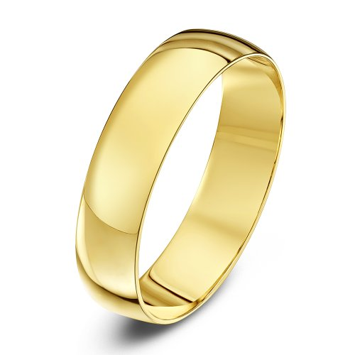 Theia Unisex Heavy Weight 5 mm D Shape 9 ct Yellow Gold Wedding Ring - P