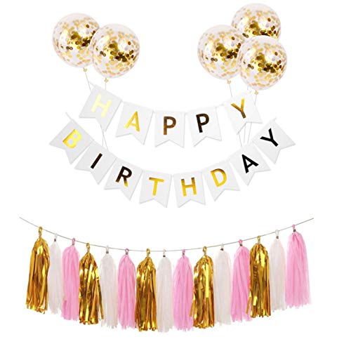 Happy Birthday Banner with 5 pcs Gold Confetti Balloons Gold White Pink Tassel Trim for Birthday Party Decorations Baby Shower (White)