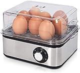Edelstahl Eierkocher mit Timer - für 1-8 Eier - 21x17x15cm - mit Eierstecher und Messbecher - auch als Pochierer und Dampfgarer nutzbar