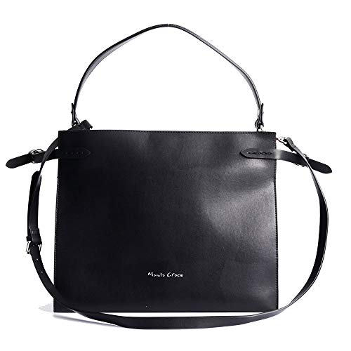MANILA GRACE BAG B018 IN BLACK ECOLEATHER WITH RED INTERIOR, POCKETS AND LONG ADJUSTABLE SHOULDER STRAP