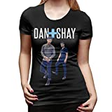 Dan+Shay T Shirt Women's Cotton Fashion T Shirt Round Neck Top Short Sleeve Tee Black