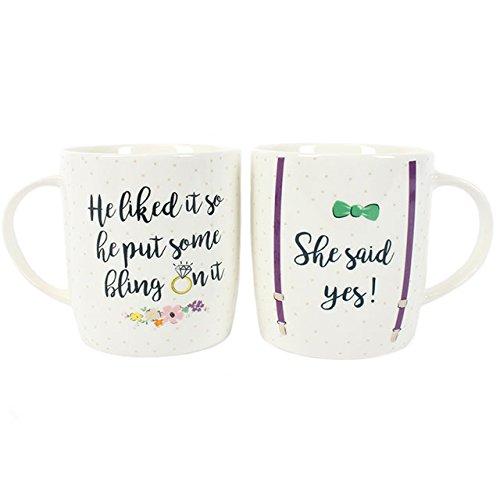 Geschenk zur Verlobung She said Ja Verlobungsring Tassen, Set von zwei