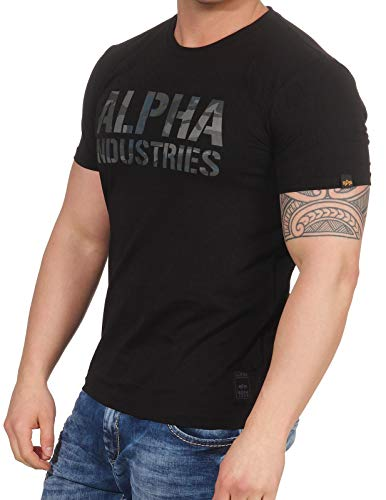 Alpha Industries Camo Print T-Shirt, Schwarz/Camouflage, Gr.- M