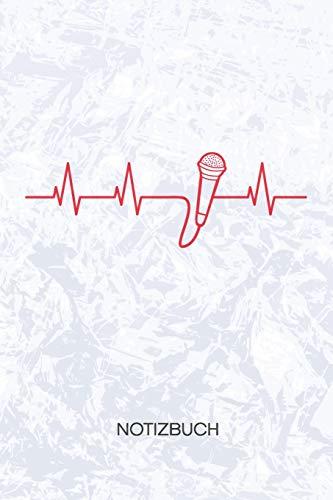 NOTIZBUCH: A5 Kariert - Künstler Heft - Instrumente Notizheft 120 Seiten KARO - Mikrofon EKG Notizblock Sänger Herzschlag Motiv - Instrumentalist Geschenk