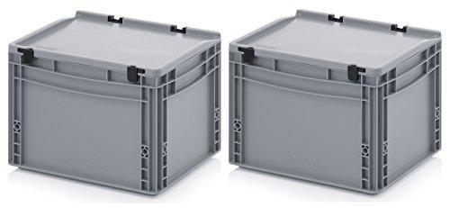 2x Eurobehälter 40 x 30 x 28,5 mit Scharnierdeckel inkl. gratis Zollstock * 2er Set