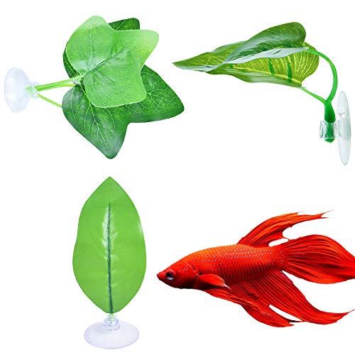 Urijk Aquariumdekoration Simulation Blatt Set Wasserpflanze Aquarium Verzierung Deko mit Saugnapf Fisch Spielzeug Aquarium Landschaftsbau (3 Stück)