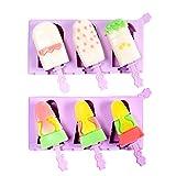 Olywee Moldes para polos de helados - 2 piezas moldes de silicona para helado de 3 cavidades con tapa, moldes reutilizables para hacer polos de hielo sin BPA